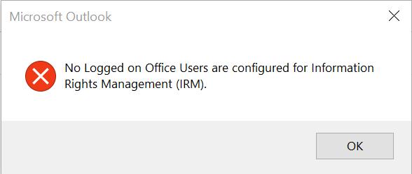 Microsoft Outlook virheilmoitus