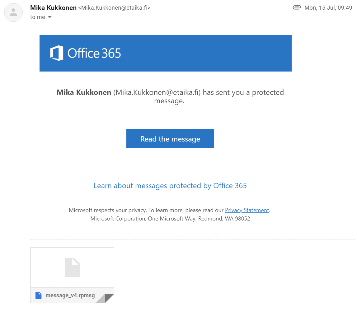 Office 365 Message Encryption -viesti Gmailissa